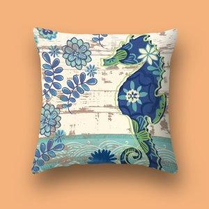 Чехол для подушки без наполнителя с принтом морские коньки SHEIN. Цвет: многоцветный