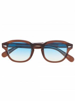 Солнцезащитные очки Posh 100 в квадратной оправе Lesca. Цвет: коричневый