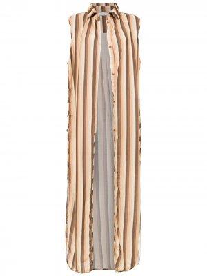 Пляжная туника в полоску Amir Slama. Цвет: коричневый