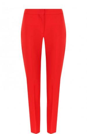 Однотонные укороченные брюки из смеси шерсти и шелка Alexander McQueen. Цвет: красный