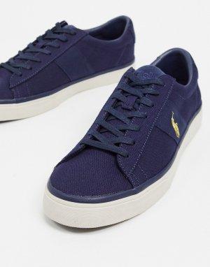 Темно-синие парусиновые кроссовки с золотистым логотипом в виде игрока поло sayer-Темно-синий Polo Ralph Lauren