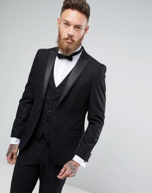 Приталенный пиджак-смокинг Moss London BROS. Цвет: черный
