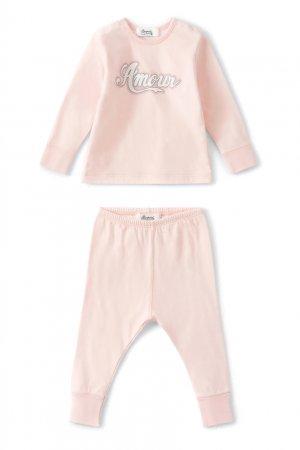 Светло-розовый хлопковый комплект Bonpoint. Цвет: розовый