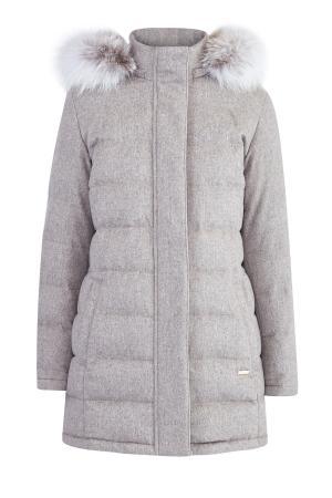Пуховое пальто из кашемира от Loro Piana с отделкой меха лисы ENRICO MANDELLI. Цвет: серый