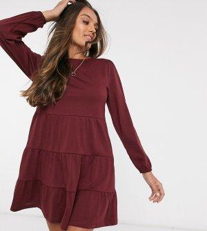Свободное платье мини с длинными рукавами ASOS DESIGN Petite-Красный Petite