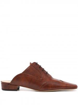 Мюли на шнуровке с брогированием A.W.A.K.E. Mode. Цвет: коричневый