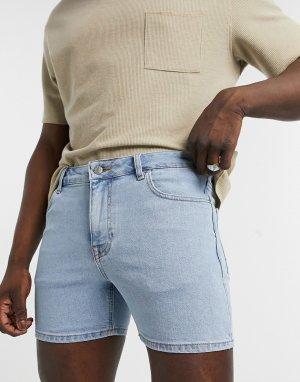 Голубые короткие джинсовые шорты зауженного кроя -Голубой ASOS DESIGN