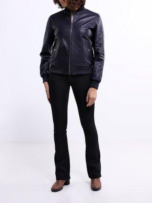 Кожаный бомбер ORSA Couture. Цвет: siniy