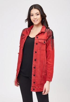 Куртка джинсовая DSHE MP002XW1IDXD. Цвет: красный