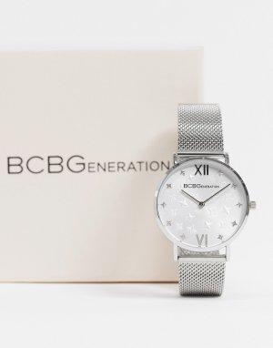 Часы с сетчатым ремешком BCBG Generation-Серебристый Max Azria