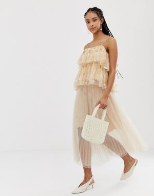 Плиссированная юбка миди -Розовый Amy Lynn