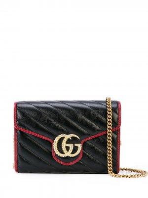 Сумка на плечо GG Marmont Gucci. Цвет: черный
