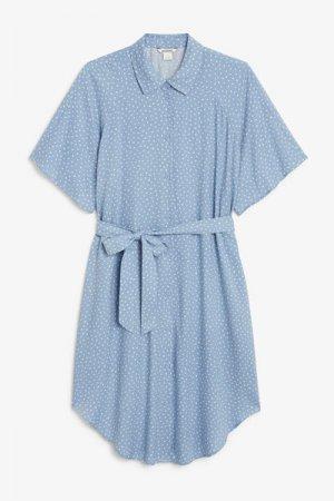Платье-рубашка миди Monki. Цвет: синий