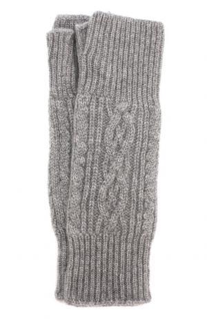Кашемировые митенки фактурной вязки TSUM Collection. Цвет: серый