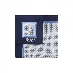 Шелковый платок BOSS. Цвет: синий