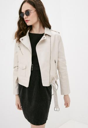 Куртка кожаная Izabella. Цвет: бежевый