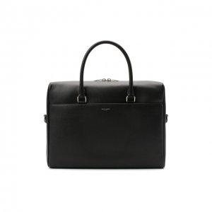 Кожаная сумка для ноутбука Duffle Saint Laurent. Цвет: чёрный