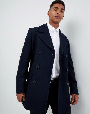 Двубортное пальто-бушлат с добавлением шерсти -Темно-синий French Connection