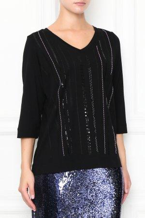 Черный пуловер с пайетками Marina Rinaldi. Цвет: черный