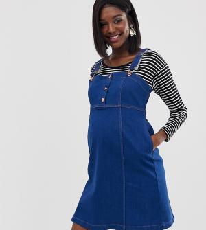 Джинсовое платье-комбинезон GeBe Maternity-Синий Maternity
