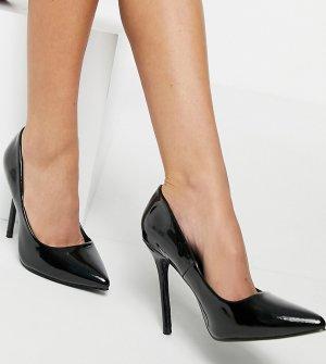 Черные лакированные туфли-лодочки -Черный Glamorous Wide Fit