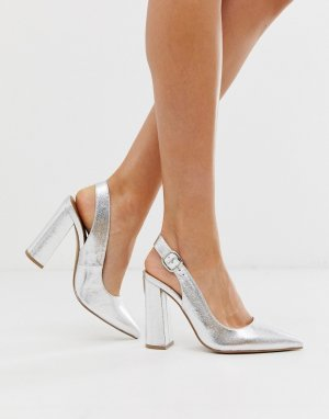 Серебристые туфли на высоком блочном каблуке с ремешком через пятку ASOS DESIGN Penley-Серебряный
