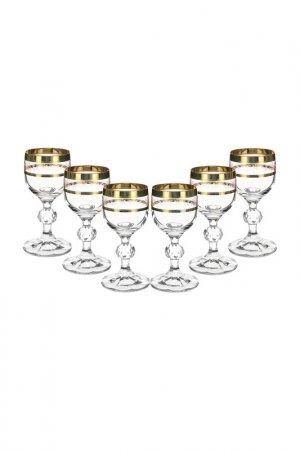 Бокал для вина, 6 шт BOHEMIA CRYSTAL. Цвет: панто, золотой