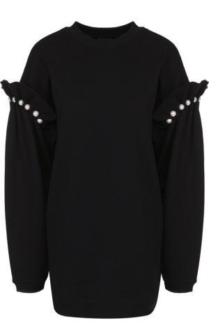 Хлопковый пуловер с декоративной отделкой Mother Of Pearl. Цвет: черный