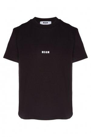 Черная футболка с небольшим логотипом MSGM. Цвет: черный