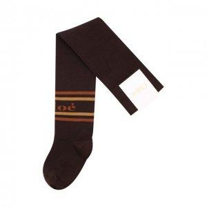 Хлопковые чулки с логотипом бренда Chloé. Цвет: коричневый