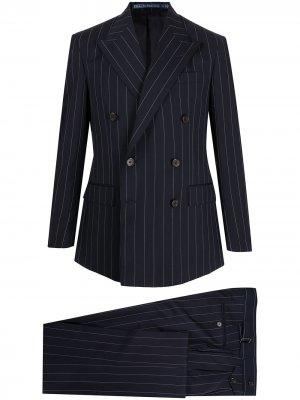 Костюм в тонкую полоску с двубортным пиджаком Polo Ralph Lauren. Цвет: синий