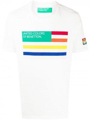 Футболка с принтом Benetton. Цвет: белый