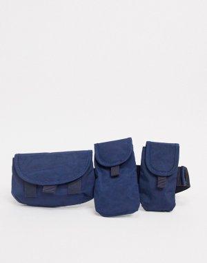 Темно-синяя сумка-кошелек через плечо с карманами -Синий ASOS DESIGN