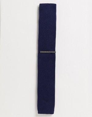 Однотонный трикотажный галстук и зажим для галстука -Темно-синий Ben Sherman