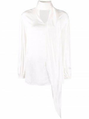 Блузка с драпировкой и логотипом Pinko. Цвет: белый