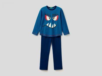 Пижама с принтом Benetton. Цвет: синий