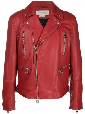 Байкерская куртка Alexander McQueen. Цвет: красный