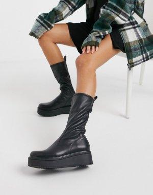 Черные высокие ботинки на платформе с плоской подошвой Tara-Черный Vagabond