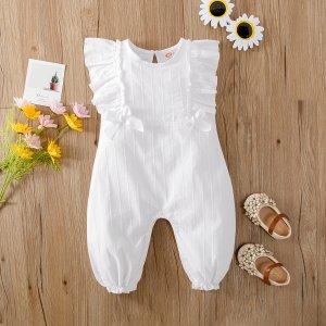 С оборками Одноцветный милый комбинезоны для малышей SHEIN. Цвет: белый