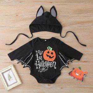 Детский Боди на хэллоуин с принтом тыквы шапкой SHEIN. Цвет: чёрный