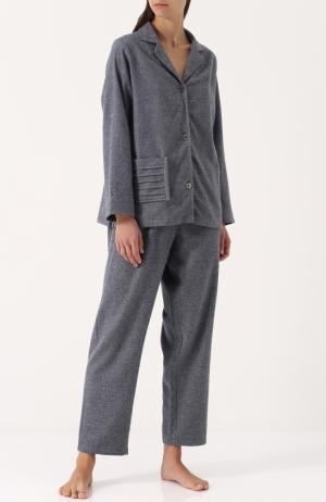 Однотонная хлопковая пижама Celestine. Цвет: серый