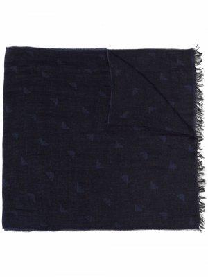 Жаккардовый шарф Emporio Armani. Цвет: синий