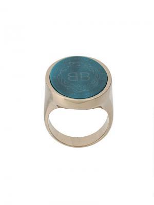 Кольцо овальной формы Balenciaga. Цвет: серебристый