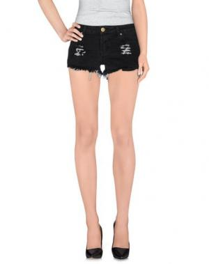 Джинсовые шорты REVERSE. Цвет: черный