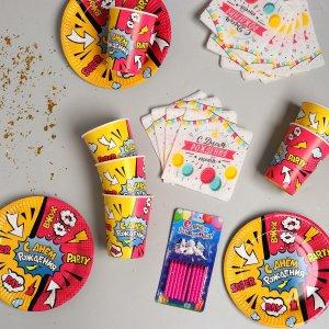 Набор бумажной посуды super party, со свечами Страна Карнавалия