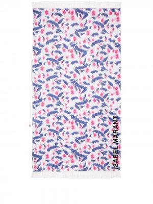 Пляжное полотенце с логотипом и принтом тай-дай Isabel Marant. Цвет: белый