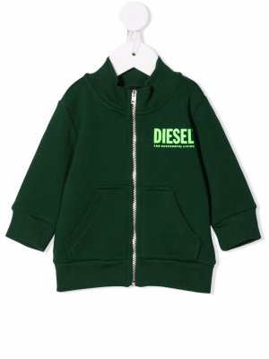 Толстовка на молнии с логотипом Diesel Kids. Цвет: зеленый