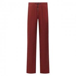 Льняные брюки Brioni. Цвет: бордовый