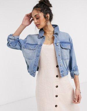 Голубая джинсовая куртка с эластичным поясом -Синий Urban Bliss