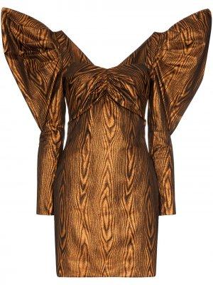 Платье миди с объемными рукавами House of Holland. Цвет: коричневый
